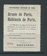 VIGNETTE Patriotique DELANDRE Propagande Guerre : Armée De Paris 1914 - WWI WW1 Cinderella Poster Stamp 1914 1918 War - Commemorative Labels