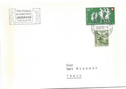 """125 - 86 - Enveloppe Avec Oblit Spéciale """"Fête Fédérale De Gymnastique Lausanne 1951"""" - Marcophilie"""