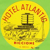 Voyo HOTEL ATLANTIC Riccione  Italy Hotel Label 1970s Vintage - Hotel Labels