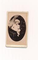 CDV Bébé Enfant Assis Chapeau Robe Dentelles Mme Nigart Reims Baby Child - Photographs