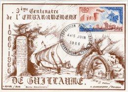 1966 - Carte Double Franco/Anglaise - Guillaume Le Conquérant - 9e Centenaire De La Bataille D'Asting - Cachets Commémoratifs