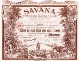 """Action Ancienne - """"Savana"""" Société Industrielle, Commerciale Et Financière - Titre De 1952 - Déco - Indochine - Asie"""
