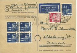 1951  Postkarte Mit Luftpost Von Hamburg Nach Schladming, Österreich  Porto Luftpost:+ 20 Pf. - BRD