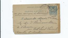 Carte Lettre  Entier Postal  90CLRP3 De Mirecourt Vosges Pour Viterne Par Pont St Vincent Meurthe Et Moselle 1898 - Postal Stamped Stationery