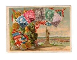 Chromo Imp. Bognard, 3-29, Timbres-poste, Amerique Nord, Statue De La Liberté, USA - Trade Cards