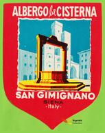 Voyo HOTEL CISTERNA SAN GIMIGNANO Siena  Italy Hotel Label 1970s Vintage - Etiquettes D'hotels