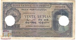 PORTUGUESE INDIA 20 RUPIAS 1945 PICK 37 VF CANCELLED - Billets