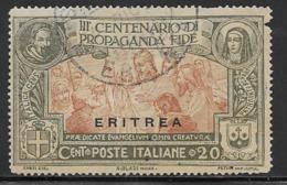 Eritrea Scott # 65 Used Italy Propaganda Issue Overprinted, 1923, Edge Nick At Upper Right, CV$47.50 - Eritrea