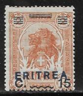 Eritrea Scott # 84 Mint Hinged Somalia Stamp Overprinted, 1924 - Eritrea