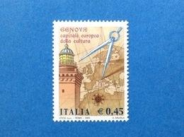 2004 ITALIA GENOVA CAPITALE EUROPEA DELLA CULTURA FRANCOBOLLO NUOVO STAMP NEW MNH** - 1946-.. République