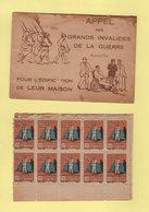 Couverture De Carnet (vide) + 10 Timbres - Federation Des Grands Invalides De Guerre - Commemorative Labels