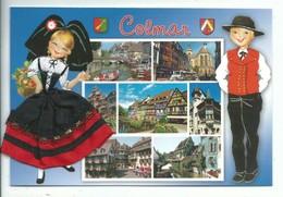 Carte Brodée Alsace Colmar Multivues Petite Venise Couple Costume Régional Blason - Neuve Ed As De Coeur - Ricamate