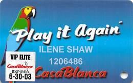 CasaBlanca Casino Mesquite NV - 6th Issue Slot Card - VIP Elite 6-30-03 Sticker - Casino Cards