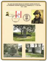 Belgium 2004 Duo-Stamp On Commemoration Card 1-Aug-2004 Nieuwpoort, WW1 90 Years, King Albert I, Memorials - Souvenir Cards