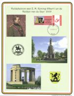 Belgium 2005 Duo-Stamp On Commemoration Card 7-Aug-2005 Nieuwpoort, King Albert I And The Yser Heroes - Souvenir Cards