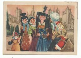 CPSM Illustrateur P Welcomme- Folklore En Bresse Bourgogne Promenade En Ville - Non Voyagée Ed Arts Régionaux - Welcome P.