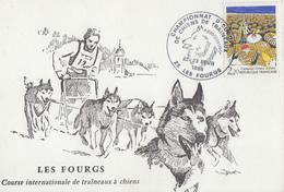 Carte  FRANCE   Championnat  D' Europe  De  Chiens  De  Traineaux    LES   FOURGS    1986 - Postmark Collection (Covers)