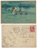 1932 Buon Anno In Oro E Anche Il Bordo + Buon Natale A Mano, Cane,giocattoli; Illustrato Castelli; Retro Con Targhetta. - New Year
