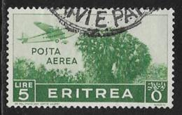 Eritrea Scott # C15 Used Plane Over Trees, 1938, Thin - Eritrea