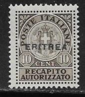 Eritrea Scott # EY1 Mint Hinged Italy Authorized Delivery Stamp Overprinted, 1941 - Eritrea