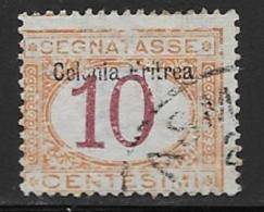 Eritrea Scott # J2 Used Italy Postage Due Stamp Overprinted, 1903, CV$42.50, Face Scrapes?? - Eritrea