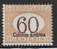 Eritrea Scott # J14 Mint Hinged Italy Postage Due Stamp Overprinted, 1927, CV$160.00 - Eritrea