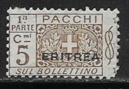 Eritrea Scott # Q9 Parts 1 Mint Hinged Italy Parcel Post Stamp Overprinted, 1917 - Eritrea