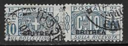 Eritrea Scott # Q10 Used Parts 1 And 2 Used Italy Parcel Post Stamp Overprinted, 1917 - Eritrea