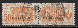 Eritrea Scott # Q13 Used Italy Parcel Post Stamp Overprinted, 1917 - Eritrea