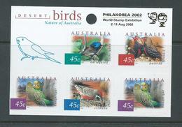 Australia 2002 Philakorea Gold Overprint On Desert Birds Sheetlet MNH - Mint Stamps