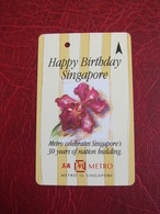 Transitlink Metro Ticket Card, Metro Happy Birthday Singapore, Orchid - Singapur