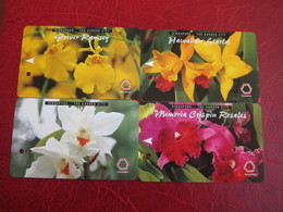 Transitlink Metro Ticket Card,Singapore The Garden City, Orchid Flower, Set Of 4 - Singapour