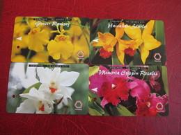 Transitlink Metro Ticket Card,Singapore The Garden City, Orchid Flower, Set Of 4 - Singapur