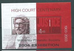 Australia 2003 High Court Centenary Miniature Sheet Waverly 2004 Exhibition Special Overprint MNH - Usati