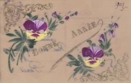 CARTE FANTAISIE - BONNE ANNEE 1907 - PEINTE A LA MAIN  SUR CELLULOID - Autres