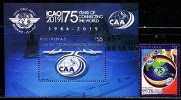 XC1208 Philippines 2019 ICAO 75 Years 1V + M MNH - Filippine