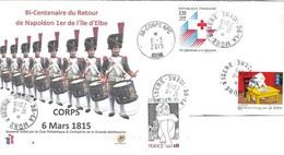CORPS ISERE - BI CENTENAIRE DU RETOUR DE NAPOLEON 1ER A L ILE D ELBE, ENVELOPPE ILLUSTREE 2015, 2019, VOIR LE SCANNER - Napoléon