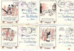 LOT 4 CARTES WW2 1941 DESSINS DE GUERIN PUBLICITES SAINT RAPHAEL QUINQUINA 2 CANS - Guerre 1939-45