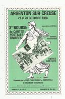 Cp, Bourses & Salons De Collections, 3 E Bourse De Cartes Postales , Timbres ,ARGENTON SUR CREUSE ,1984 - Sammlerbörsen & Sammlerausstellungen