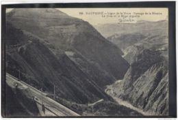 38351 .   LIGNE DE LA MURE . PASSAGE DE LA RIVOIRE . LE DRAC ET LE MONT AIGUILLE .   CIRCULEE . 1919 - La Mure