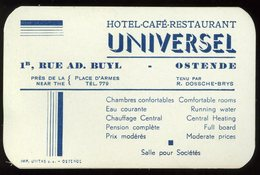 Carte De Visite Ostende Hotel Café Restaurant Universel Rue Ad Buyl 10 X 6 Cm - Visitekaartjes