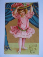 Bonne Fête Fillette Roses Fond Or Meisje Met Rozen Achtergrond Gouddruk Edit Kopal 401 Circulée Gelopen 1908 Anvers - Illustrateurs & Photographes