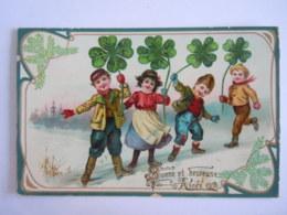Nouvelle An Enfants Trefle Carte Glacée Kindren Klavertje-vier Gelopen Circulée 1909 Overyssche - Nieuwjaar