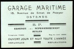 Carte De Visite Ostende Garage Maritime Avenue De Smet De Naeyer 1939 8 X 13 Cm - Visitekaartjes