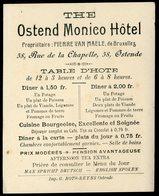 Carte De Visite Ostende Ostend Monico Hotel Rue De La Chapelle Pierre Van Maele 10 X 12 Cm - Visiting Cards