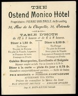 Carte De Visite Ostende Ostend Monico Hotel Rue De La Chapelle Pierre Van Maele 10 X 12 Cm - Visitekaartjes