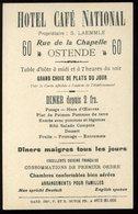 Carte De Visite Ostende Hotel Café National Laemmle Rue De La Chapelle 9 X 13 Cm - Visitekaartjes