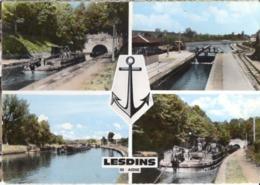 CP 02 Aisne - LESDINS, Multivues Du Canal Et Péniche Cp N° C 4 (cachet Poste) - Other Municipalities