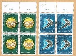 EXPERT A. WEID. SERIE BLOCS DE 4 OBLITERES 1948 .S.B.K. Nr:W25X/W28x. Y&TELLIER Nr:449/452. MICHEL Nr:492y/495y. - Usados