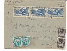 1946-GUINEE Lettre  Par Avion De LABE Par  CONAKRY Taxée Par ST PONS Hérault  (4 Timbres Gerbes) GROS CACHET  2 Scans - Marcophilie (Lettres)